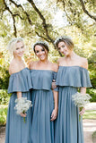 Slate Gray Mismatched Chiffon Off Shoulder Cheap Long Bridesmaid Dresses, BD093