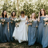 www.simidress.com sell Slate Gray Mismatched Chiffon Off Shoulder Cheap Long Bridesmaid Dresses, BD093 on line