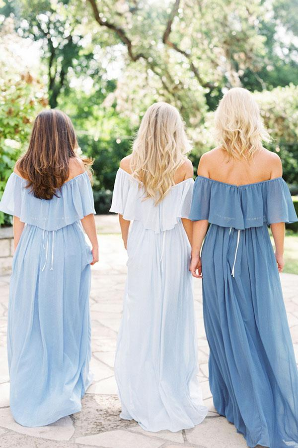 simidress.com supply Slate Gray Mismatched Chiffon Off Shoulder Cheap Long Bridesmaid Dresses, BD093