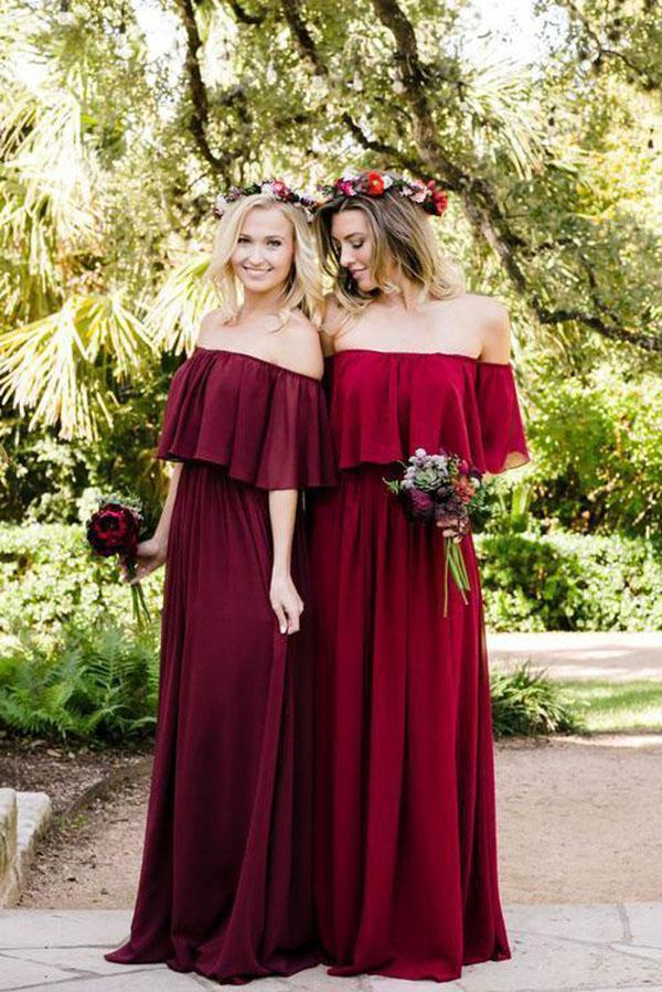Shop Burgundy Mismatched Chiffon Off Shoulder Cheap Long Bridesmaid Dresses, BD093 at simidress.com