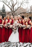 Red A-line Sequins Halter Long Bridesmaid Dresses with Appliques, BD095