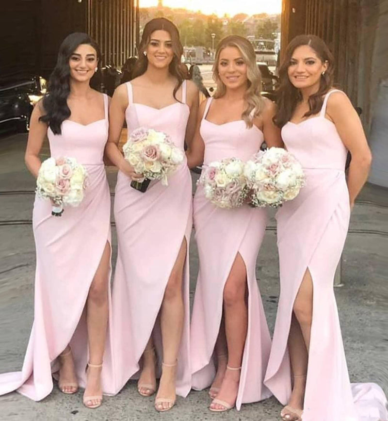 Find Beautiful Pink Satin Mermaid Sweetheart Bridesmaid Dresses With Split, BD096 at www.simidress.com