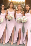 Beautiful Pink Satin Mermaid Sweetheart Bridesmaid Dresses With Split, BD096