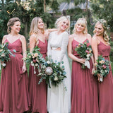 Find Charming Dusty Rose Chiffon A-line Spaghetti Straps Bridesmaid Dresses, BD098 at www.simidress.com