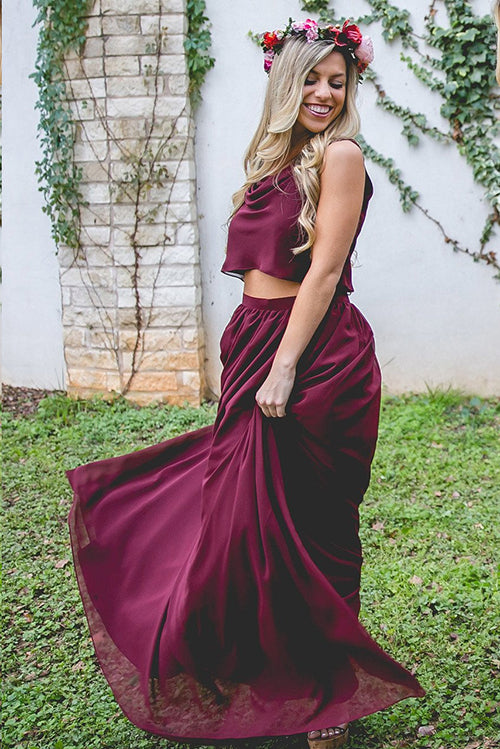 Burgundy Chiffon Two Piece Bohemia bridesmaid dresses | best bridesmaid dresses | bridesmaid dresses online | long bridesmaid dresses | affordable bridesmaid dresses | boho bridesmaid dresses | modest bridesmaid dresses | gold bridesmaid dresses | bridesmaid dresses near me | burgundy bridesmaid dresses | junior bridesmaid dresses | plus size bridesmaid dresses | cheap bridesmaid dresses | bridesmaid dresses | Simidress
