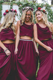 Burgundy Chiffon Two Piece Bohemia A Line Long Bridesmaid Dresses, BD099 | bohemian bridesmaid dresses | best bridesmaid dresses | bridesmaid dresses online | long bridesmaid dresses | affordable bridesmaid dresses | boho bridesmaid dresses | modest bridesmaid dresses | gold bridesmaid dresses | bridesmaid dresses near me | burgundy bridesmaid dresses | junior bridesmaid dresses | plus size bridesmaid dresses | cheap bridesmaid dresses | bridesmaid dresses | Simidress