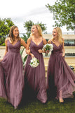 Dusty Purple Tulle A-line Open Back Spaghetti Straps Bridesmaid Dresses, BD100