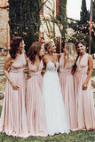 Beautiful A-line Blush Pink Mismatched Long Bridesmaid Dresses, BD101