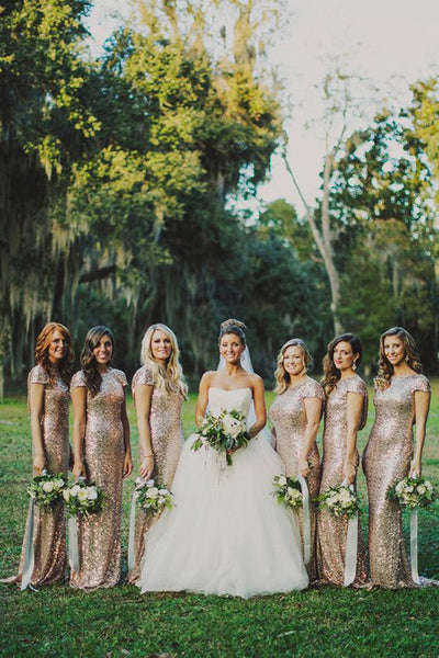 Gold Sequin Sparkly Mermaid Long Rose Bridesmaid Dress,Maid of honor Dresses, BD34