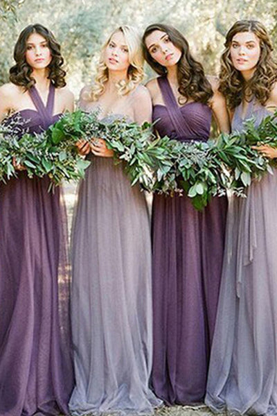 Cheap Charming Bridesmaid Dresses,Tulle Long Wedding Party Dresses, BD35