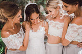 Two pieces Short Sleeve Lace Top Beach Wedding Bridesmaid Dresses, BD43