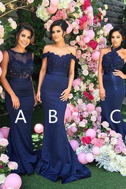 Royal Blue Different Styles Mermaid Long Wedding Bridesmaid Dresses, BD36