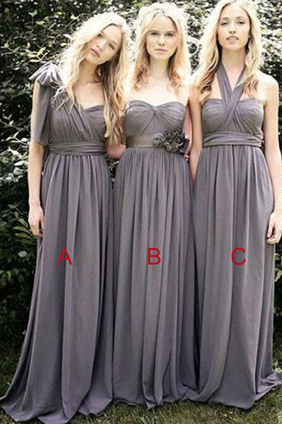 Gray A Line Convertible Chiffon Cheap Long Bridesmaid Dresses for Wedding Party, BD37