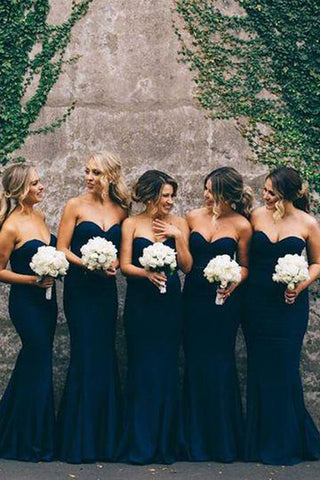 Elegant Navy Women Sweet Heart Mermaid Long Bridesmaid Dresses, BD38