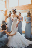 Dusty Blue One Shoulder A-line Chiffon Bridesmaid Dresses, BD44