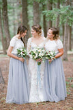 Light Grey Tulle Skirt Short Sleeve White Top Bridesmaid Dresses, BD45