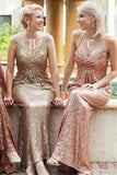 Sequin Mismatched Long Sheath Bridesmaid Dresses For Wedding, BD46