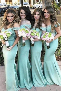 Charming Off Shoulder Lace top Mermaid Bridesmaid Dresses Wedding Guest Dress, BD48