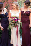 Burgundy Pink Navy Off Shoulder Stunning Mermaid Bridesmaid Dress with Train, BD49