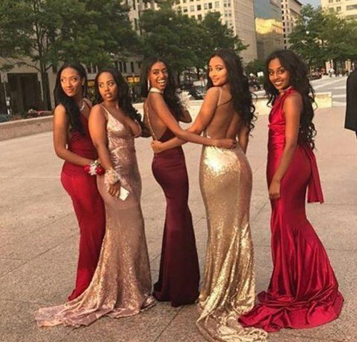Cheap V Neck Mismatched Mermaid Bridesmaid Dresses,Long Prom Dresses, BD50