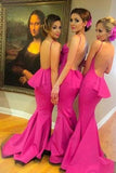 Young Girls Rose Red Backless Mermaid Bridesmaid Dresses with Small Train, BD51