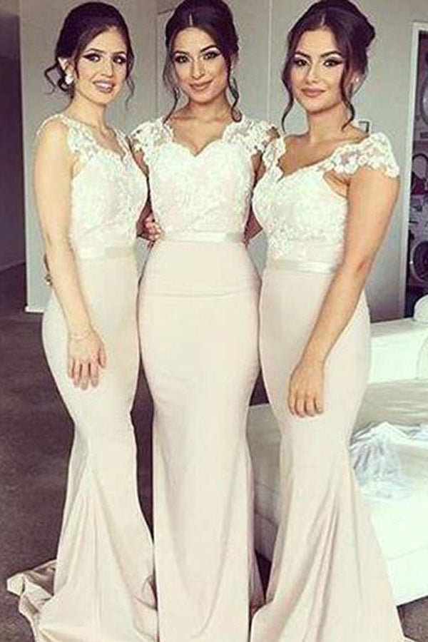 Off Shoulder Sweet Heart Lace Mermaid Long Wedding Party Dresses, BD52