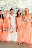 Blush Pink Chiffon A-line Bridesmaid Dresses,Long Bridesmaid Dresses, BD59
