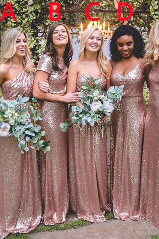 c59e88ae3c5 Mismatched Rose Gold Sequin Long Wedding Party Dresses