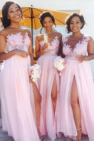 Pink Chiffon Lace Bodice Side Slit Long Bridesmaid Dresses with Appliques, BD61