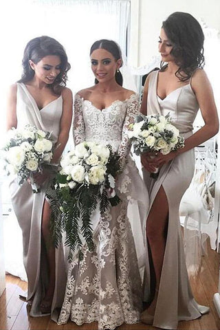 Newest Design Soft Satin Side Slit Special Long Bridesmaid Dresses, BD66