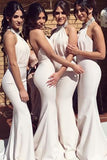 Ivory Mermaid Modern Beaded High Neckline Long Bridesmaid Dress With Chapel Train, BD69