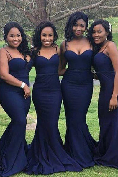 Navy Blue Satin Mermaid Sweetheart Long Bridesmaid Dress With Spaghetti Straps, BD71