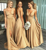 Cheap A-Line Deep V-Neck Floor-Length Bridesmaid Dress with Side Slit at simidress.com