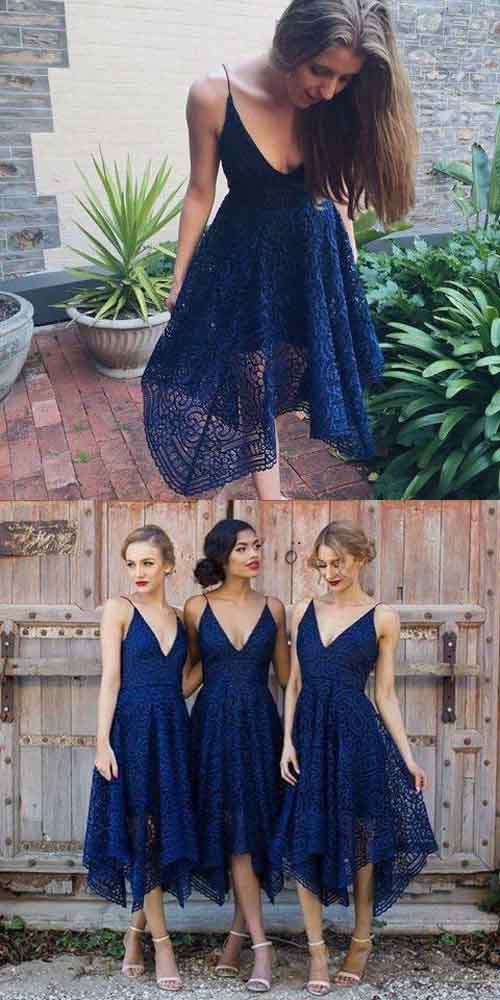 Navy Blue/Pink Deep V-neck Spaghetti Straps Sleeveless Lace A-line Bridesmaid Dress at simidress.com
