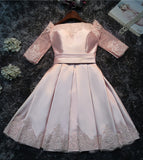 Cute A-Line Half-sleeves Lace up Back Short Bridesmaid Dress with Appliques from simidress.com