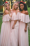 Off-the-shoulder Pink Ruffles Chiffon Long Floor-length  Bridesmaid Dresses, BD78