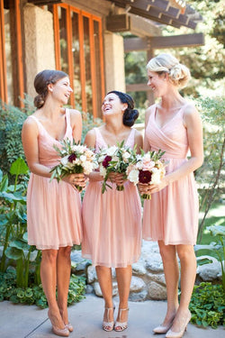 Simple Pink A-line V-neck Chiffon Short Bridesmaid Dresses, Wedding Party Dress, BD79