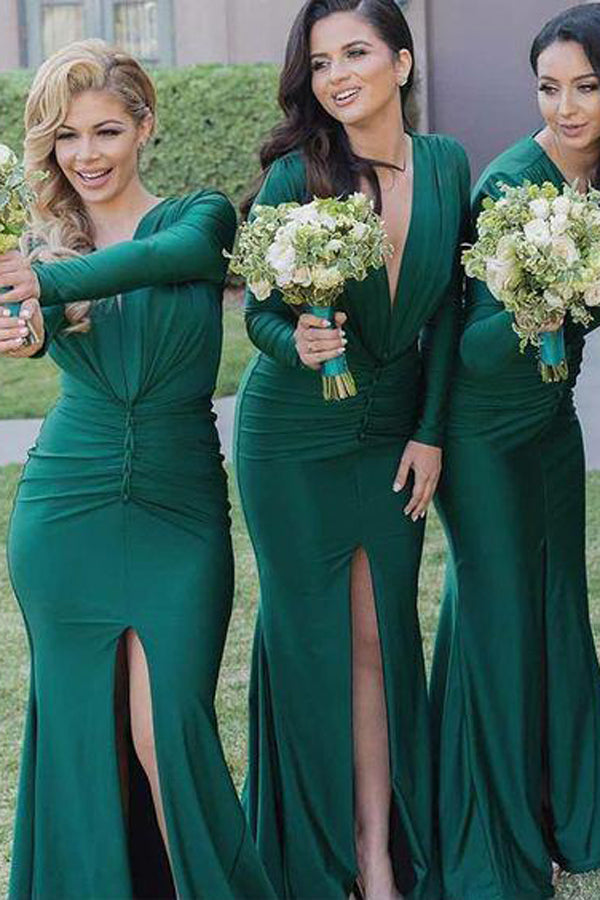 Green Deep V-neck Long Sleeve Bridesmaid Dresses with Side Slit, BD80