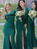 Green Deep V-neck Long Sleeve Bridesmaid Dresses with Side Slit at simidress.com