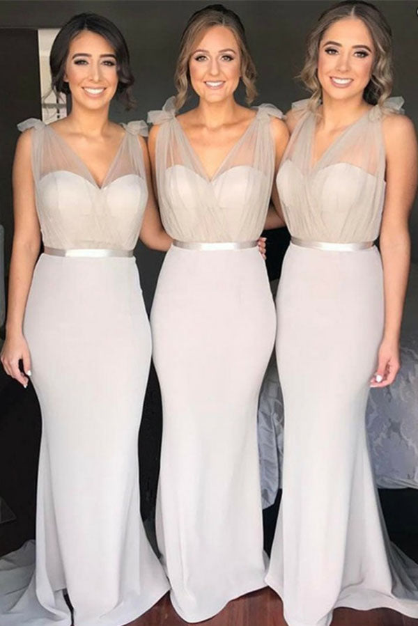 Light Grey lovely Mermaid V-Neck Sweep Train Sweet Elegant Bridesmaid Dress, BD82