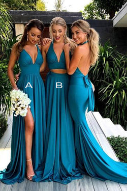 Blue Simple V-neck Long Bridesmaid Dresses with Side Slit, Wedding Party Dress, BD83