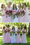 Long Pink A Line V Neck Chiffon Bridesmaid Dresses Cheap Bridesmaid Dress, BD84