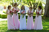 Long Pink A Line V Neck Chiffon Bridesmaid Dresses Cheap Bridesmaid Dress, BD84 at simidress.com