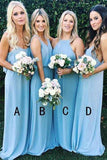 Cheap Sky Blue Long Mismatched Bridesmaid Dress Wedding Party Dresses, BD85