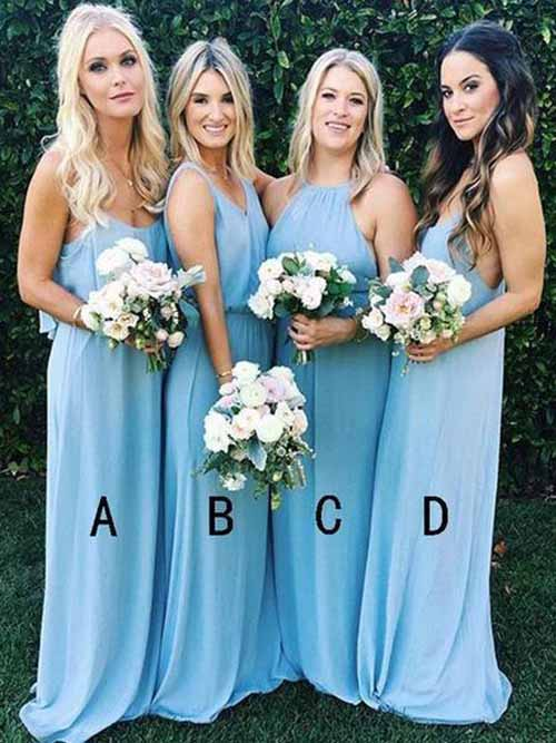 simidress.com offer Cheap Sky Blue Long Mismatched Bridesmaid Dress Wedding Party Dresses, BD85