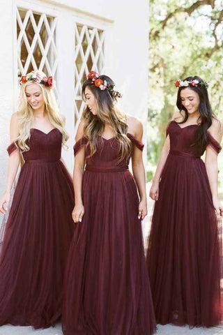 Burgundy Off Shoulder Tulle Different Bridesmaid Dresses Long, BD87