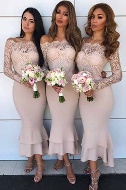 Inexpensive Tea Length Lace Sleeve Nude Off Shoulder Bridesmaid Dresses, BD89
