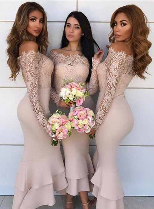 Inexpensive Tea Length Lace Sleeve Nude Off Shoulder Bridesmaid Dresses, BD89 photo c