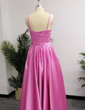 Simple A-Line Spaghetti Straps Floor-length Prom Dresses with Side Slit, SP454 at www.simidress.com