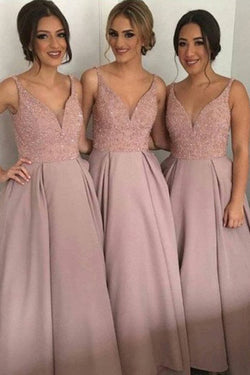 Dusty Rose Long Bridesmaid Dresses, A-Line V-Neck Bridesmaid Gown, S478